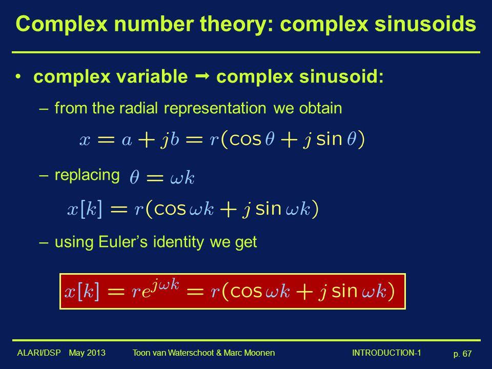 ALARI/DSP May 2013 p. 67 Toon van Waterschoot & Marc Moonen INTRODUCTION-1 Complex number theory: complex sinusoids complex variable  complex sinusoi
