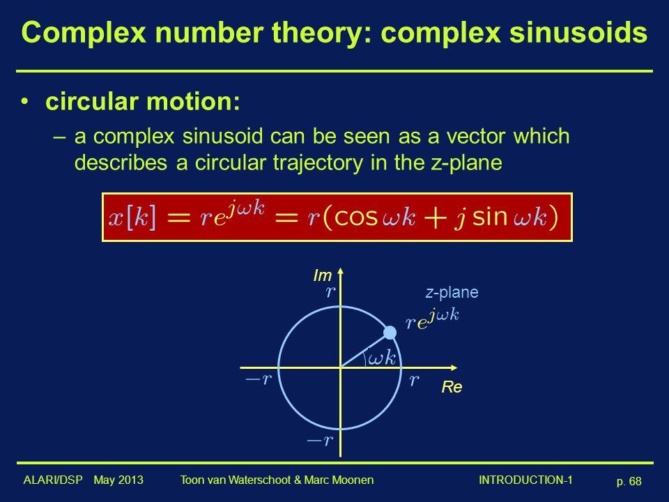 ALARI/DSP May 2013 p. 68 Toon van Waterschoot & Marc Moonen INTRODUCTION-1 Complex number theory: complex sinusoids circular motion: –a complex sinuso
