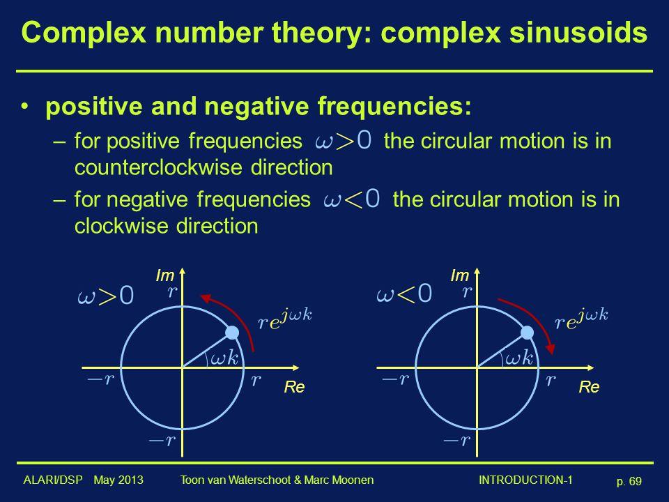 ALARI/DSP May 2013 p. 69 Toon van Waterschoot & Marc Moonen INTRODUCTION-1 Complex number theory: complex sinusoids positive and negative frequencies: