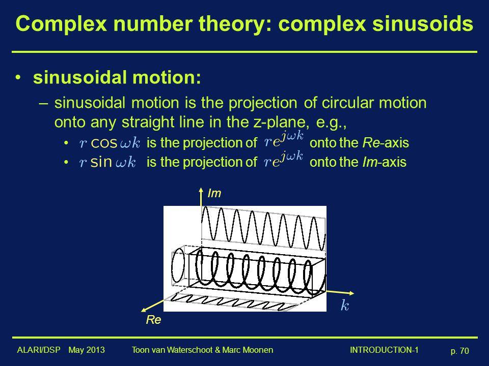 ALARI/DSP May 2013 p. 70 Toon van Waterschoot & Marc Moonen INTRODUCTION-1 Complex number theory: complex sinusoids sinusoidal motion: –sinusoidal mot