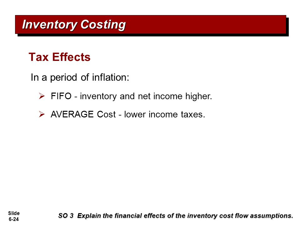 Slide 6-24 SO 3 Explain the financial effects of the inventory cost flow assumptions. Inventory Costing Tax Effects In a period of inflation:  FIFO -