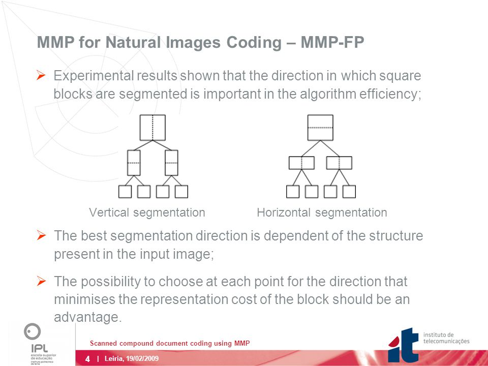 5 | Leiria, 19/02/2009 MMP for Natural Images Coding – MMP-FP  The use of the flexible segmentation scheme both for the prediction and residue coding step, increased the algorithm's adaptativity.