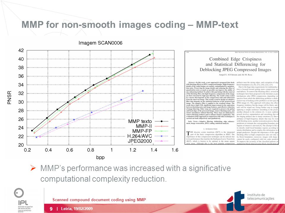 9 | Leiria, 19/02/2009 MMP for non-smooth images coding – MMP-text  MMP's performance was increased with a significative computational complexity reduction.