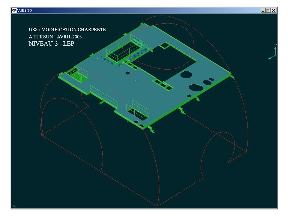 US85-MODIFICATION CHARPENTE NIVEAU 3 - LEP A.TURSUN – AVRIL 2003