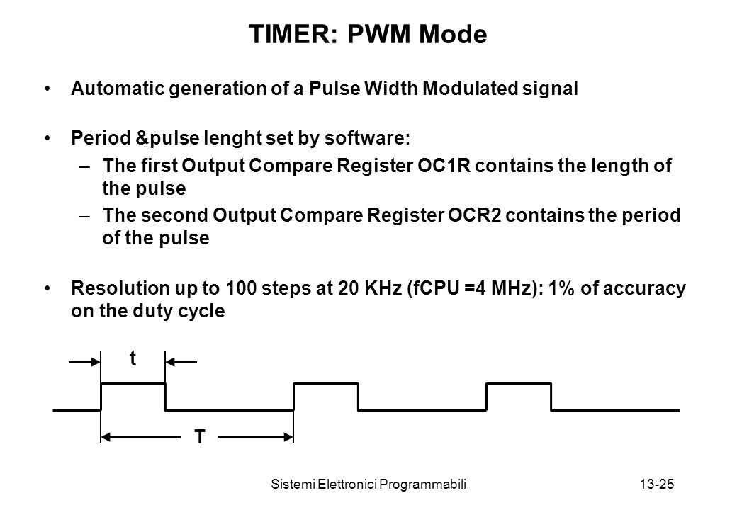 Sistemi Elettronici Programmabili13-25 TIMER: PWM Mode Automatic generation of a Pulse Width Modulated signal Period &pulse lenght set by software: –The first Output Compare Register OC1R contains the length of the pulse –The second Output Compare Register OCR2 contains the period of the pulse Resolution up to 100 steps at 20 KHz (fCPU =4 MHz): 1% of accuracy on the duty cycle t T