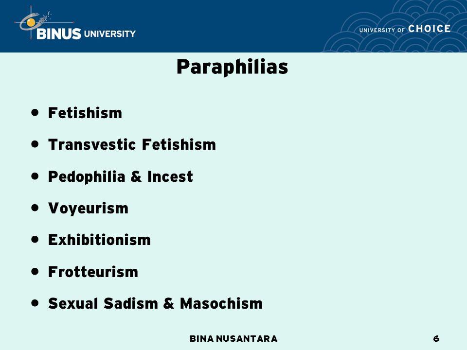 BINA NUSANTARA6 Fetishism Transvestic Fetishism Pedophilia & Incest Voyeurism Exhibitionism Frotteurism Sexual Sadism & Masochism Paraphilias