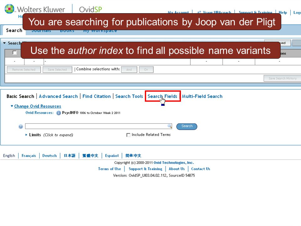 Compound author name search3 You are searching for publications by Joop van der Pligt Use the author index to find all possible name variants
