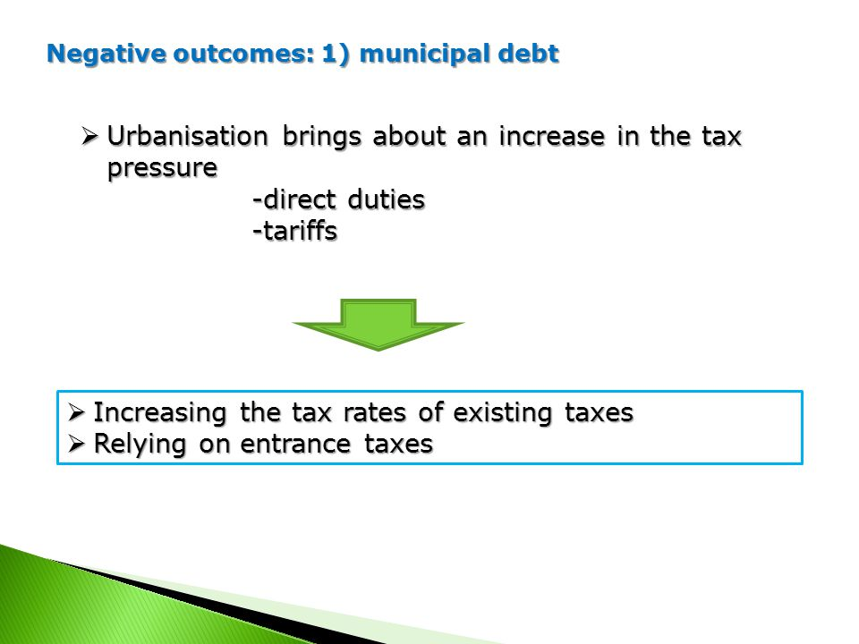 Negative outcomes: 1) municipal debt  Urbanisation brings about an increase in the tax pressure -direct duties -tariffs  Increasing the tax rates of