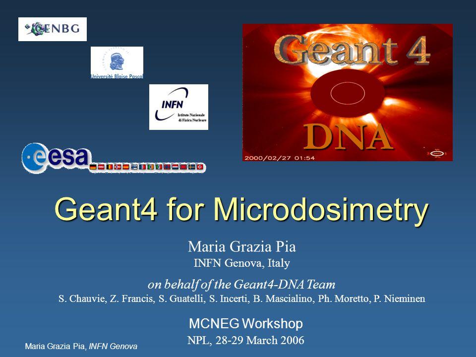 Maria Grazia Pia, INFN Genova Geant4 for Microdosimetry MCNEG Workshop NPL, 28-29 March 2006 DNA Maria Grazia Pia INFN Genova, Italy on behalf of the