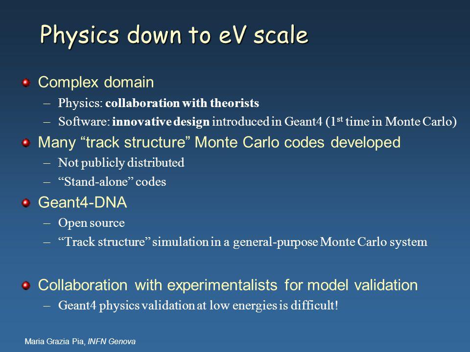 Maria Grazia Pia, INFN Genova Physics down to eV scale Complex domain –Physics: collaboration with theorists –Software: innovative design introduced i