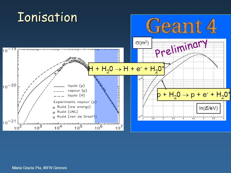 Maria Grazia Pia, INFN Genova Ionisation ln(E/eV)  (m 2 ) H + H 2 0  H + e - + H 2 0 + p + H 2 0  p + e - + H 2 0 + Preliminary