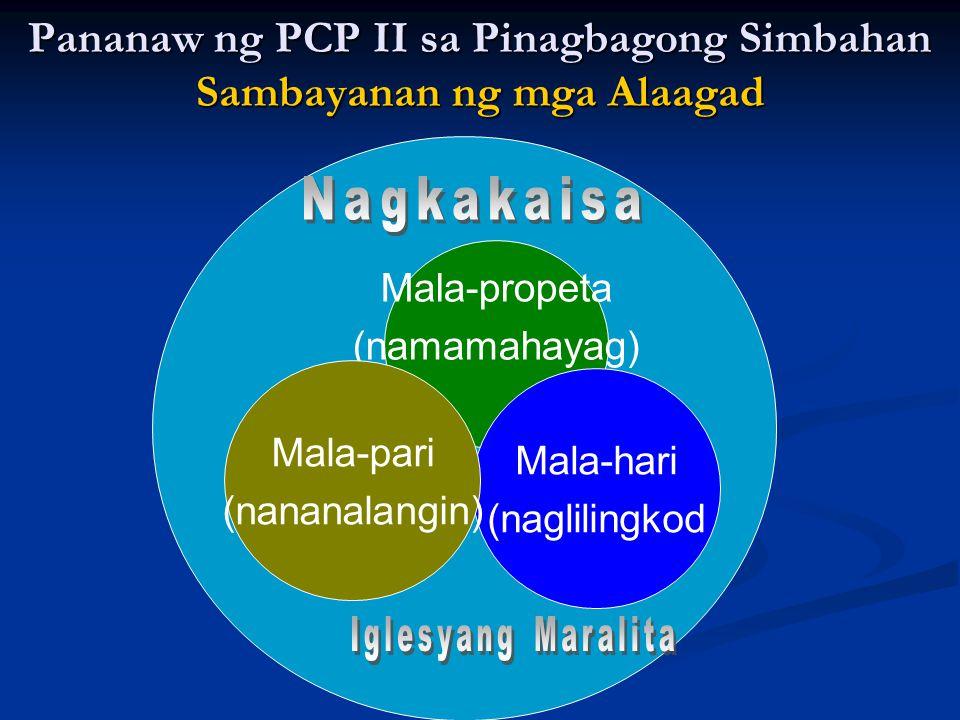 Mala-propeta (namamahayag) Mala-hari (naglilingkod Mala-pari (nananalangin) Pananaw ng PCP II sa Pinagbagong Simbahan Sambayanan ng mga Alaagad