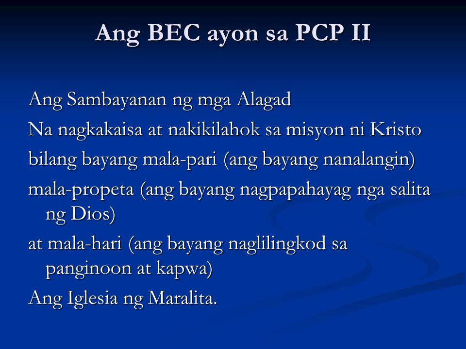 Ang BEC ayon sa PCP II Ang Sambayanan ng mga Alagad Na nagkakaisa at nakikilahok sa misyon ni Kristo bilang bayang mala-pari (ang bayang nanalangin) m