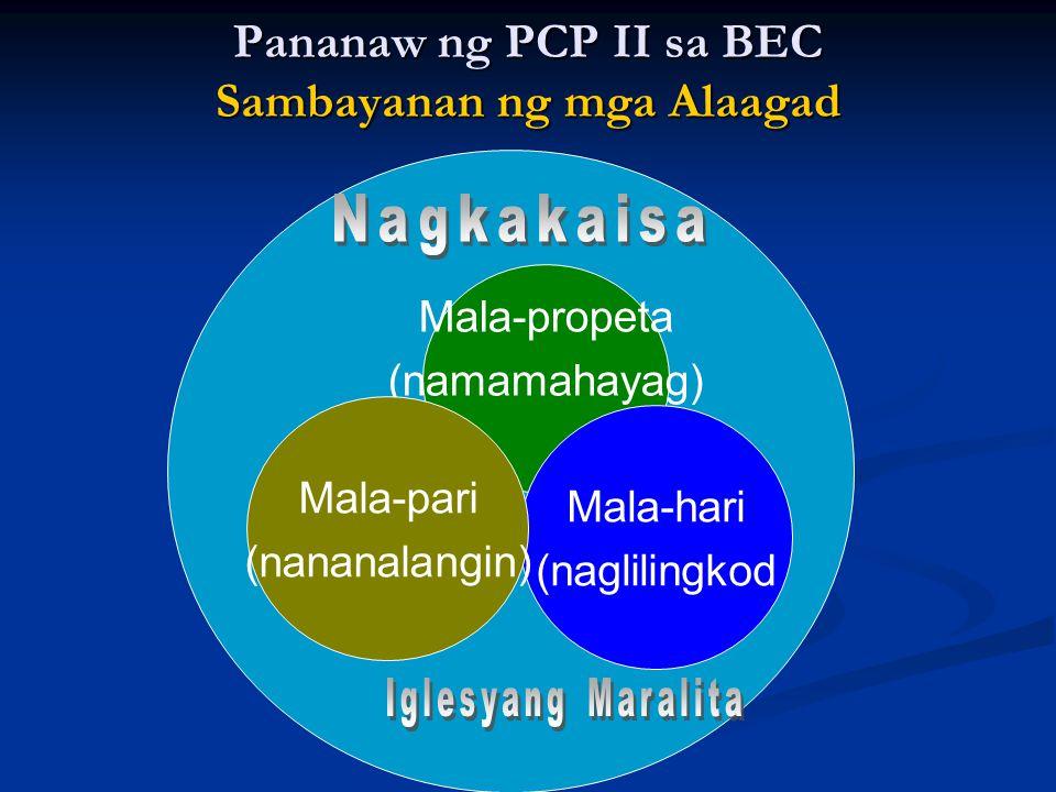 Mala-propeta (namamahayag) Mala-hari (naglilingkod Mala-pari (nananalangin) Pananaw ng PCP II sa BEC Sambayanan ng mga Alaagad