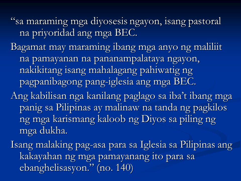 """""""sa maraming mga diyosesis ngayon, isang pastoral na priyoridad ang mga BEC. Bagamat may maraming ibang mga anyo ng maliliit na pamayanan na pananampa"""