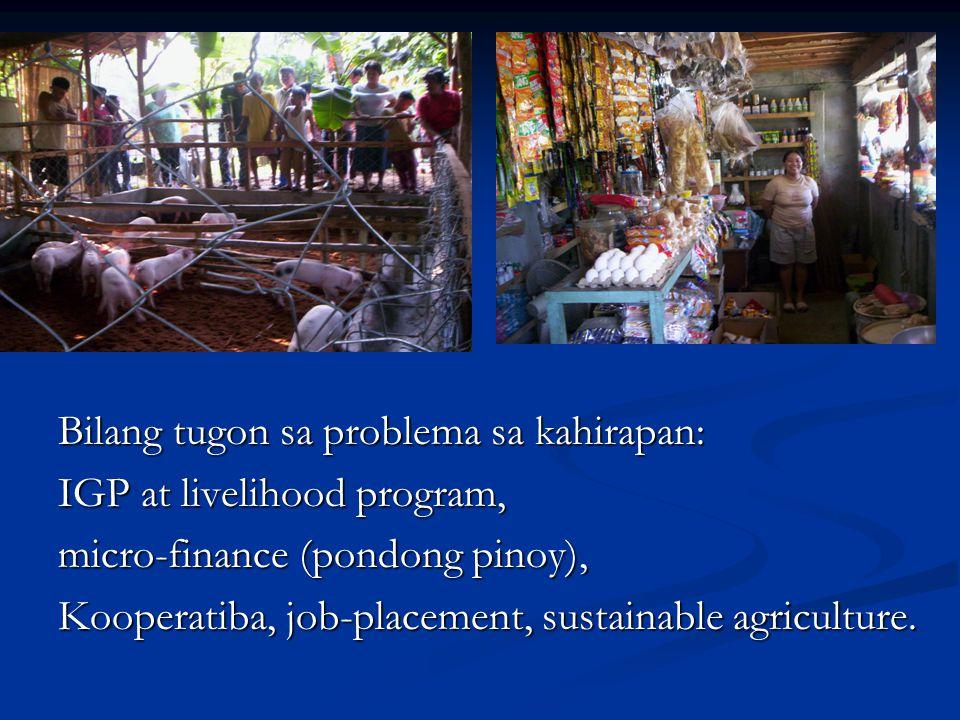 Bilang tugon sa problema sa kahirapan: IGP at livelihood program, micro-finance (pondong pinoy), Kooperatiba, job-placement, sustainable agriculture.