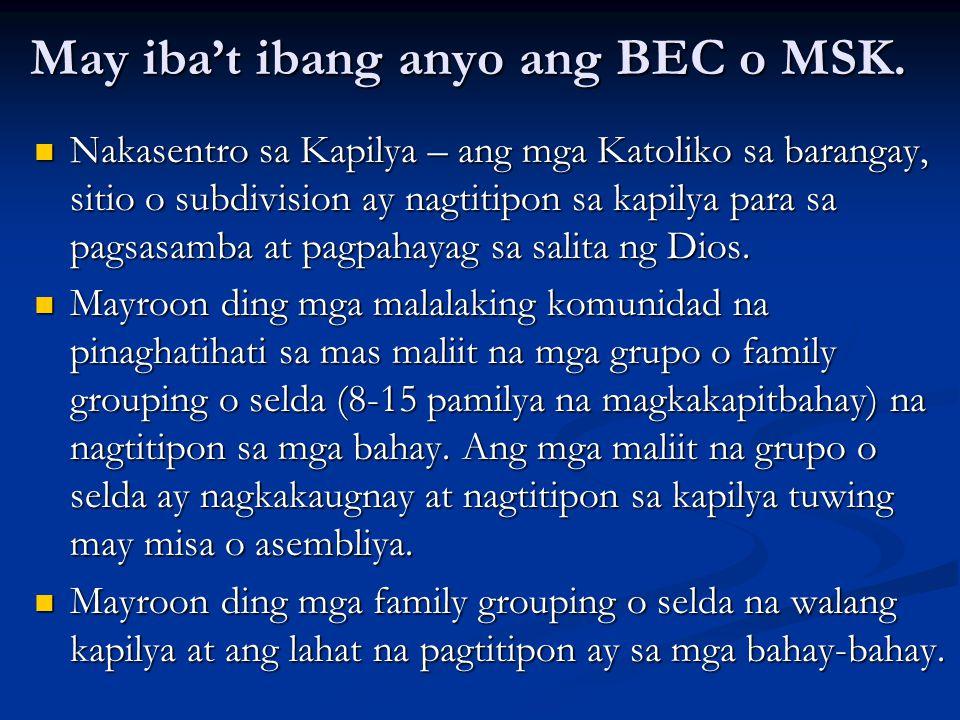 May iba't ibang anyo ang BEC o MSK. Nakasentro sa Kapilya – ang mga Katoliko sa barangay, sitio o subdivision ay nagtitipon sa kapilya para sa pagsasa