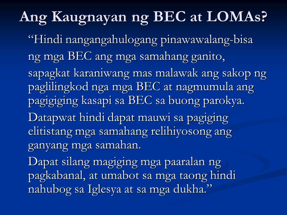 """Ang Kaugnayan ng BEC at LOMAs? """"Hindi nangangahulogang pinawawalang-bisa ng mga BEC ang mga samahang ganito, sapagkat karaniwang mas malawak ang sakop"""