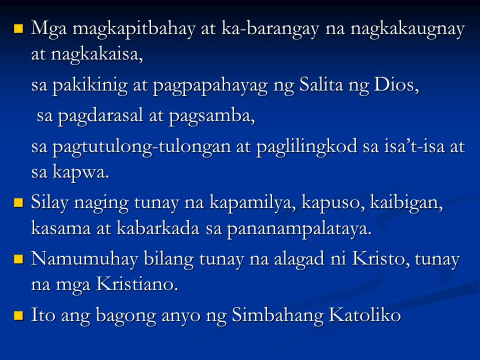 Mga magkapitbahay at ka-barangay na nagkakaugnay at nagkakaisa, Mga magkapitbahay at ka-barangay na nagkakaugnay at nagkakaisa, sa pakikinig at pagpap