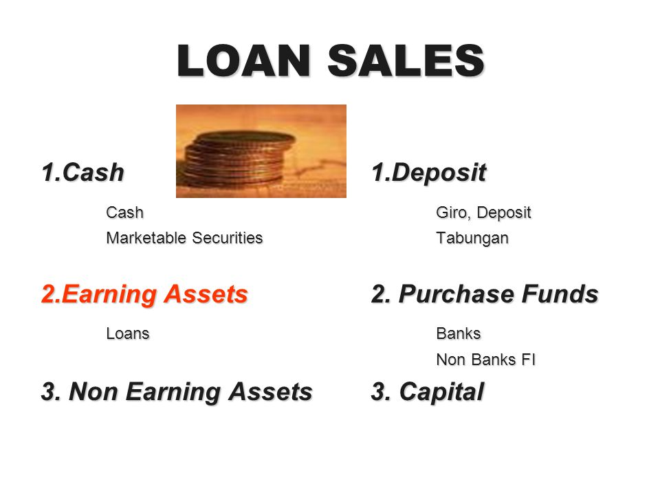 LOAN SALES 1.Cash1.Deposit CashGiro, Deposit Marketable SecuritiesTabungan 2.Earning Assets2. Purchase Funds LoansBanks Non Banks FI 3. Non Earning As