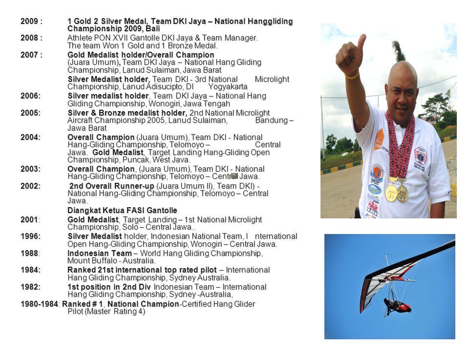 2009 :1 Gold 2 Silver Medal, Team DKI Jaya – National Hanggliding Championship 2009, Bali 2008 : Athlete PON XVII Gantolle DKI Jaya & Team Manager.
