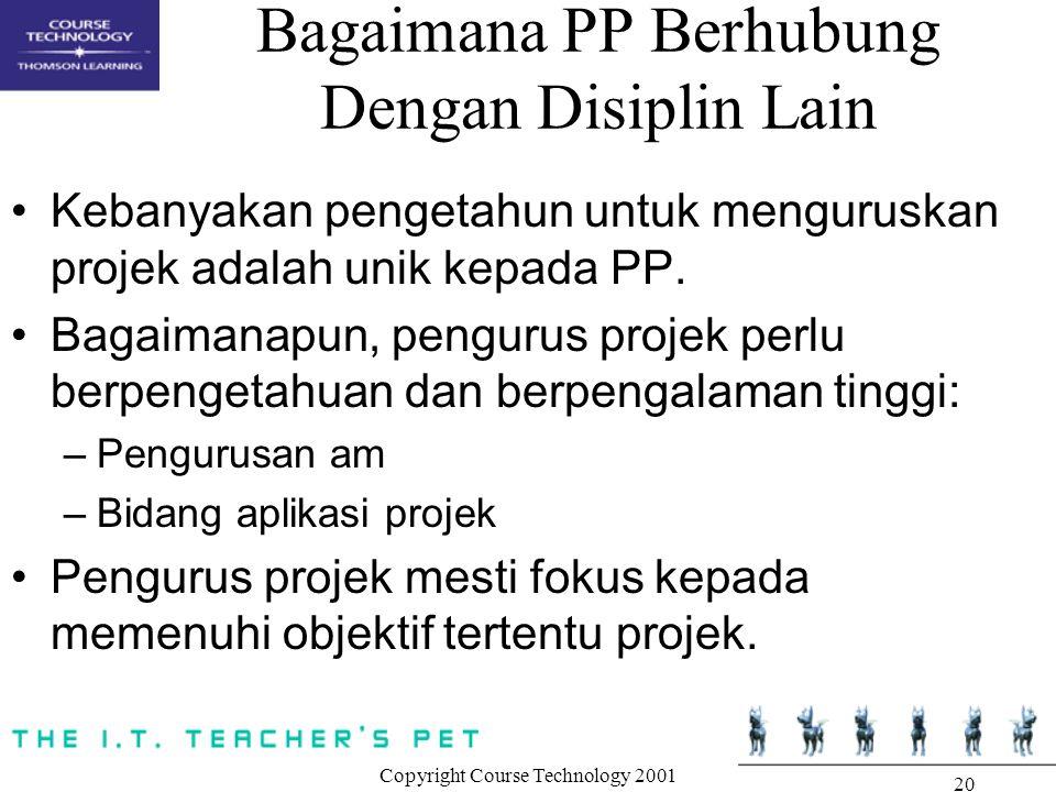Copyright Course Technology 2001 20 Bagaimana PP Berhubung Dengan Disiplin Lain Kebanyakan pengetahun untuk menguruskan projek adalah unik kepada PP.
