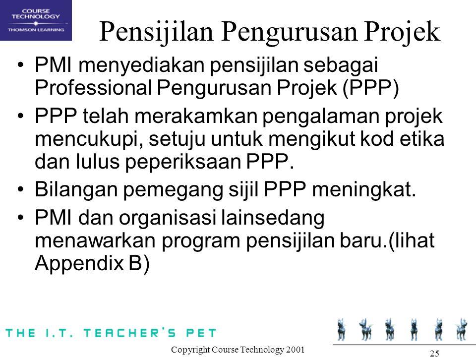 Copyright Course Technology 2001 25 Pensijilan Pengurusan Projek PMI menyediakan pensijilan sebagai Professional Pengurusan Projek (PPP) PPP telah mer