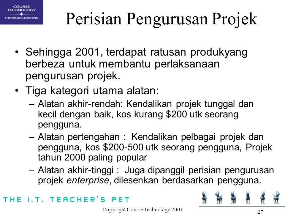 Copyright Course Technology 2001 27 Perisian Pengurusan Projek Sehingga 2001, terdapat ratusan produkyang berbeza untuk membantu perlaksanaan pengurus