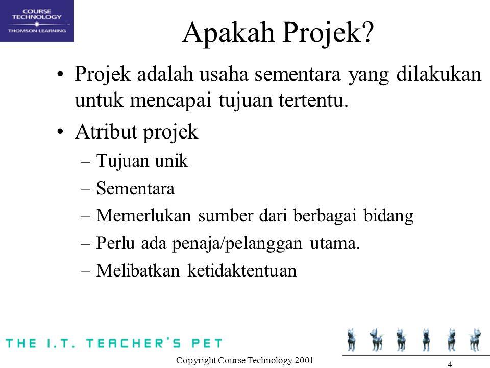 Copyright Course Technology 2001 4 Apakah Projek? Projek adalah usaha sementara yang dilakukan untuk mencapai tujuan tertentu. Atribut projek –Tujuan