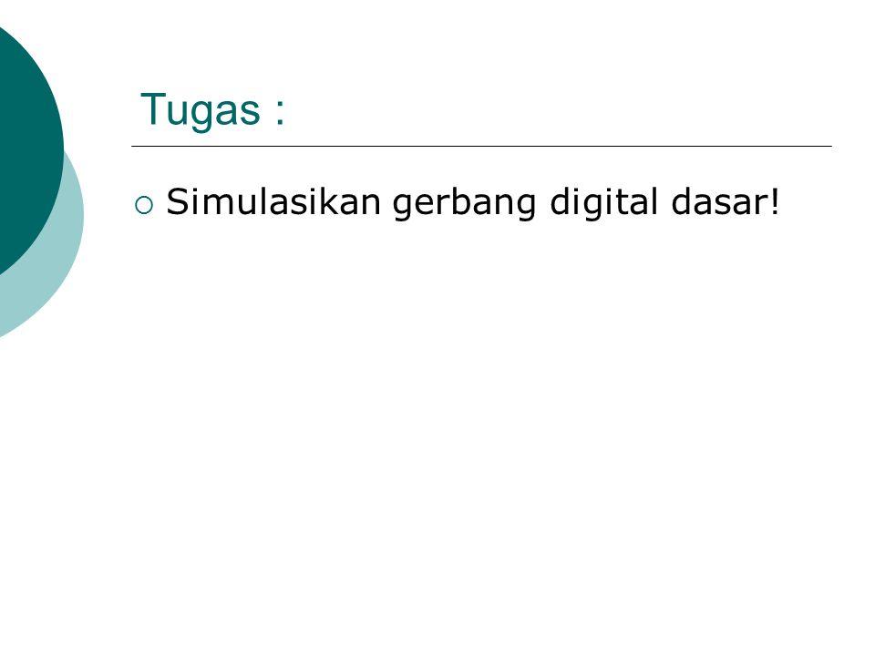 Tugas :  Simulasikan gerbang digital dasar!
