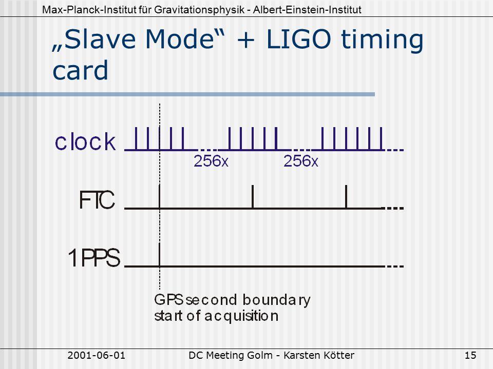 """Max-Planck-Institut für Gravitationsphysik - Albert-Einstein-Institut 2001-06-01DC Meeting Golm - Karsten Kötter15 """"Slave Mode + LIGO timing card"""