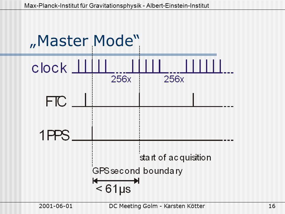 """Max-Planck-Institut für Gravitationsphysik - Albert-Einstein-Institut 2001-06-01DC Meeting Golm - Karsten Kötter16 """"Master Mode"""