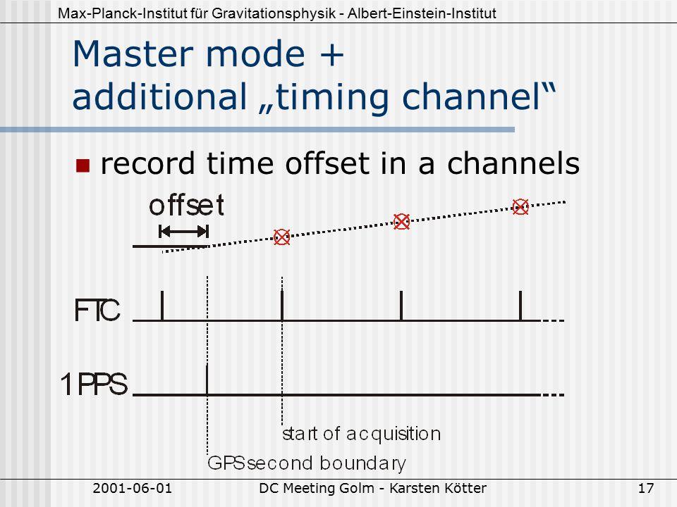"""Max-Planck-Institut für Gravitationsphysik - Albert-Einstein-Institut 2001-06-01DC Meeting Golm - Karsten Kötter17 Master mode + additional """"timing channel record time offset in a channels"""
