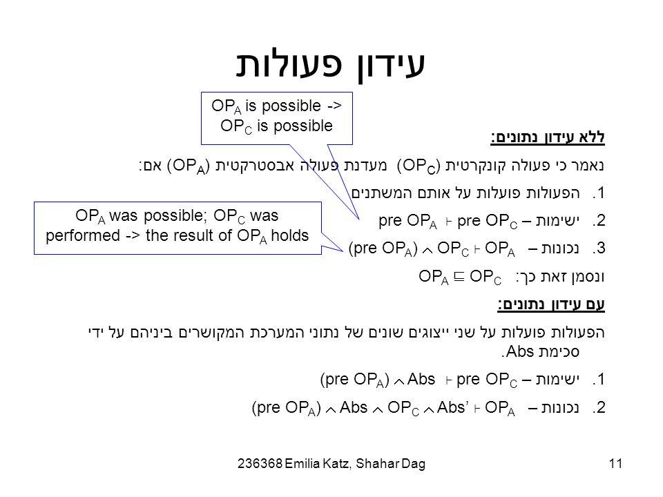 236368 Emilia Katz, Shahar Dag11 עידון פעולות ללא עידון נתונים: נאמר כי פעולה קונקרטית (OP C ) מעדנת פעולה אבסטרקטית (OP A ) אם: 1.הפעולות פועלות על אותם המשתנים 2.ישימות – pre OP A ⊦ pre OP C 3.נכונות – (pre OP A )  OP C ⊦ OP A ונסמן זאת כך : OP A ⊑ OP C עם עידון נתונים: הפעולות פועלות על שני ייצוגים שונים של נתוני המערכת המקושרים ביניהם על ידי סכימת Abs.