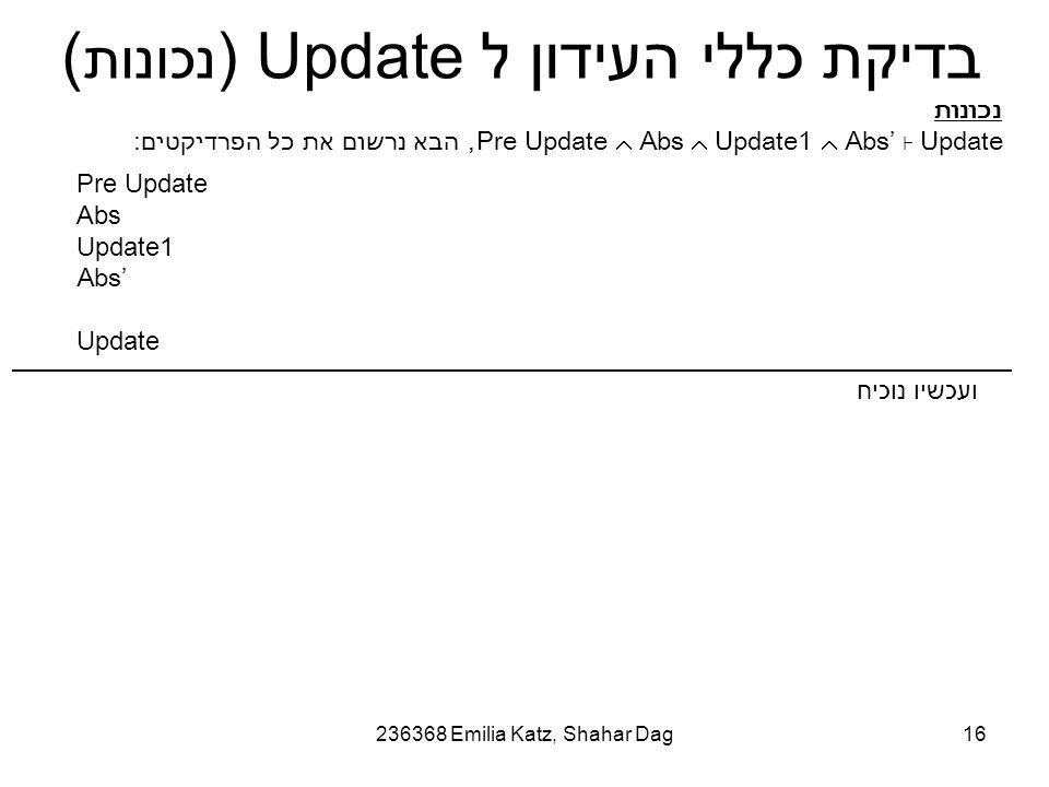 236368 Emilia Katz, Shahar Dag16 בדיקת כללי העידון ל Update ( נכונות ) Pre Update Abs Update1 Abs' Update נכונות Pre Update  Abs  Update1  Abs' ⊦ Update, הבא נרשום את כל הפרדיקטים: ועכשיו נוכיח