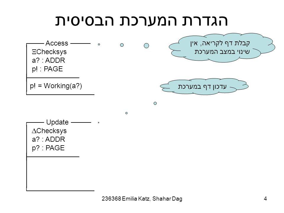 236368 Emilia Katz, Shahar Dag4 הגדרת המערכת הבסיסית ┌─── Access ────  Checksys a.