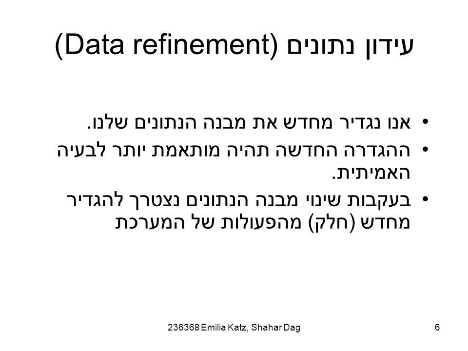 236368 Emilia Katz, Shahar Dag6 עידון נתונים (Data refinement) אנו נגדיר מחדש את מבנה הנתונים שלנו.
