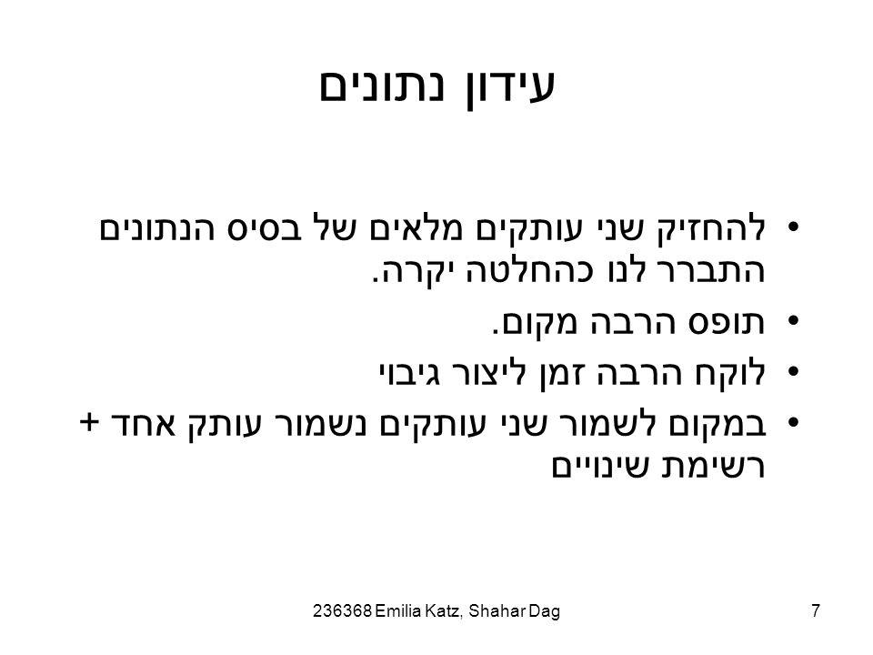 236368 Emilia Katz, Shahar Dag7 עידון נתונים להחזיק שני עותקים מלאים של בסיס הנתונים התברר לנו כהחלטה יקרה.