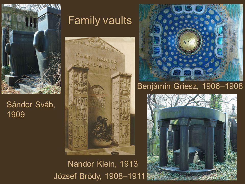Sándor Sváb, 1909 Benjámin Griesz, 1906–1908 József Bródy, 1908–1911 Nándor Klein, 1913 Family vaults
