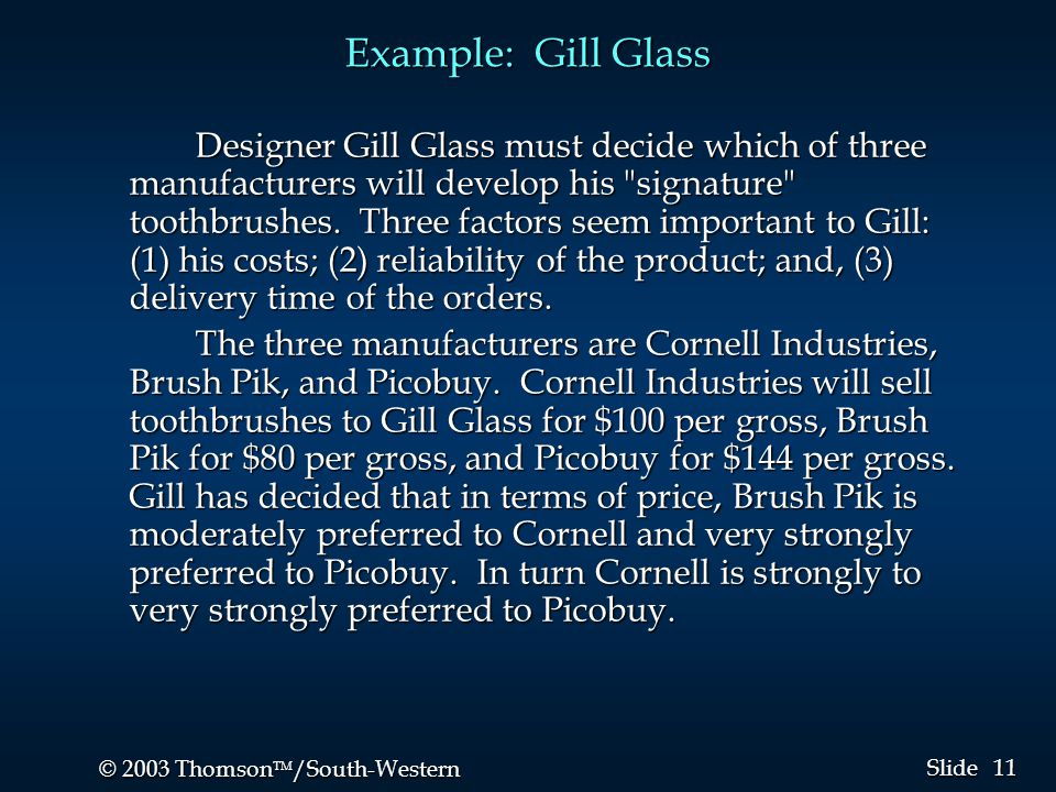 11 © 2003 Thomson  /South-Western Slide Example: Gill Glass Designer Gill Glass must decide which of three manufacturers will develop his