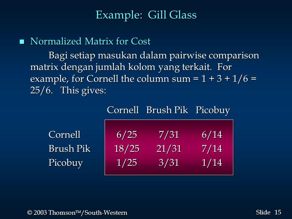 15 © 2003 Thomson  /South-Western Slide Example: Gill Glass n Normalized Matrix for Cost Bagi setiap masukan dalam pairwise comparison matrix dengan