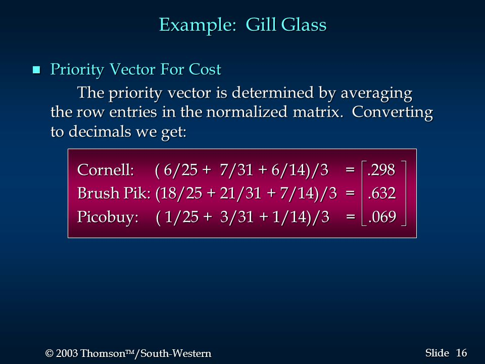 16 © 2003 Thomson  /South-Western Slide n Priority Vector For Cost The priority vector is determined by averaging the row entries in the normalized