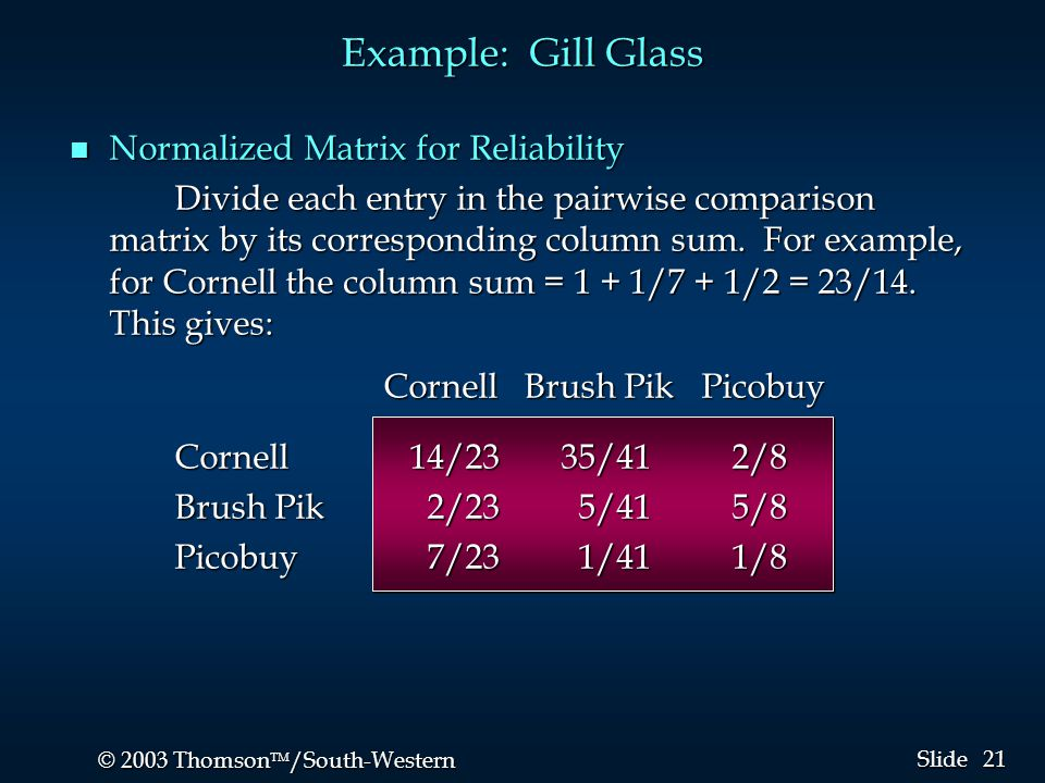 21 © 2003 Thomson  /South-Western Slide Example: Gill Glass n Normalized Matrix for Reliability Divide each entry in the pairwise comparison matrix by its corresponding column sum.