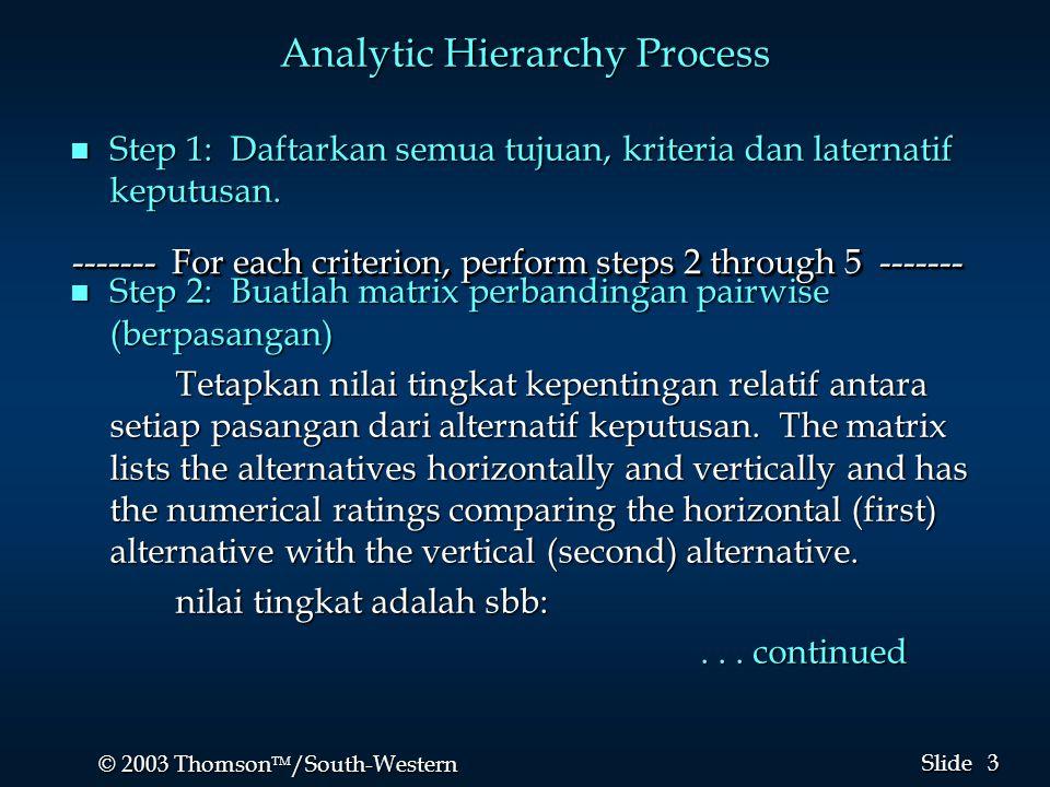 3 3 © 2003 Thomson  /South-Western Slide Analytic Hierarchy Process n Step 1: Daftarkan semua tujuan, kriteria dan laternatif keputusan. n Step 2: B