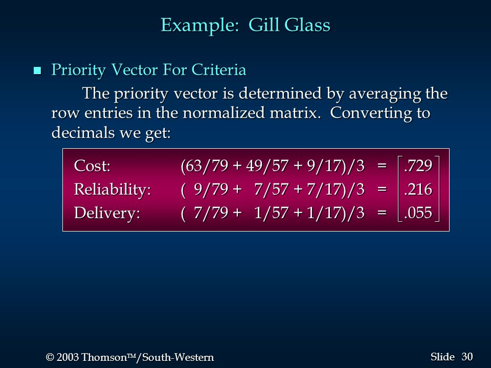 30 © 2003 Thomson  /South-Western Slide Example: Gill Glass n Priority Vector For Criteria The priority vector is determined by averaging the row en