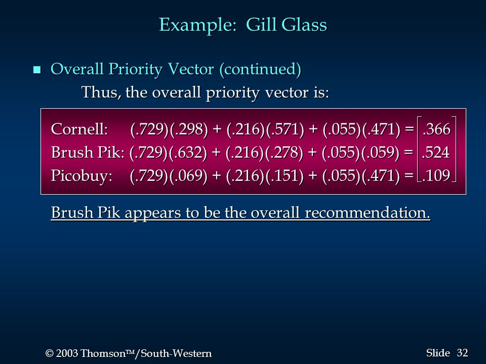 32 © 2003 Thomson  /South-Western Slide Example: Gill Glass n Overall Priority Vector (continued) Thus, the overall priority vector is: Cornell:(.72