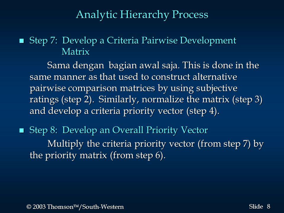 8 8 © 2003 Thomson  /South-Western Slide Analytic Hierarchy Process n Step 7: Develop a Criteria Pairwise Development Matrix Sama dengan bagian awal saja.