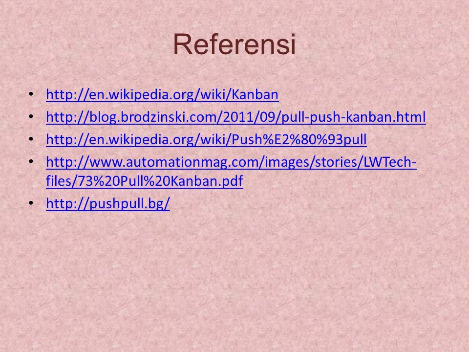 Referensi http://en.wikipedia.org/wiki/Kanban http://blog.brodzinski.com/2011/09/pull-push-kanban.html http://en.wikipedia.org/wiki/Push%E2%80%93pull