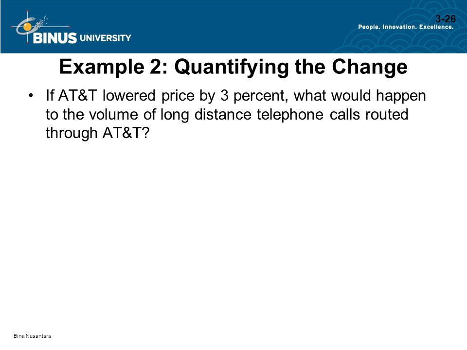Bina Nusantara Example 2: Quantifying the Change If AT&T lowered price by 3 percent, what would happen to the volume of long distance telephone calls
