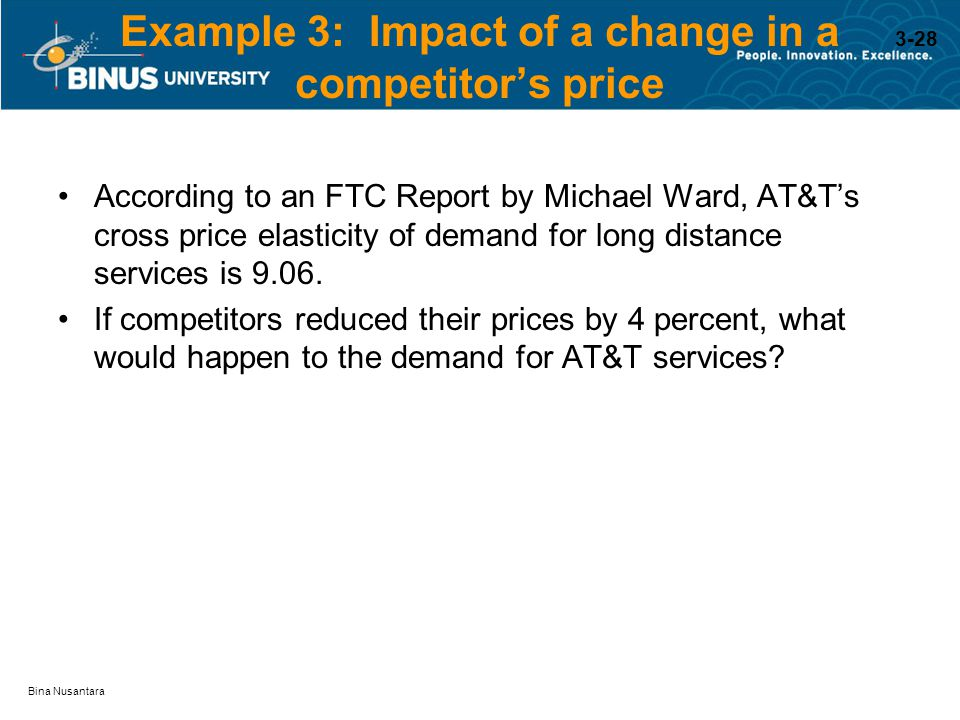 Bina Nusantara Example 3: Impact of a change in a competitor's price According to an FTC Report by Michael Ward, AT&T's cross price elasticity of dema